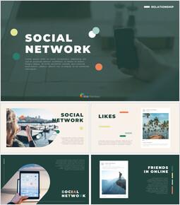 ソーシャルネットワーク シンプルなパワーポイントのテンプレート_50 slides