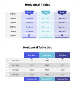 Three Horizontal List Table Set_6 slides