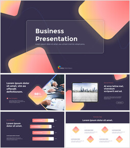 Modern Neon Glass Background Business PPT Templates Design_13 slides