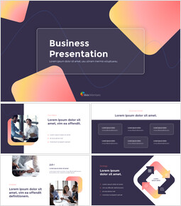 Modern Neon Glass Background Business startup presentation template_13 slides