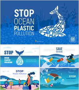 Stop all\'inquinamento da plastica dell\'oceano Tema del PowerPoint_50 slides