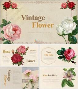 Vintage Flower presentation slide design_35 slides