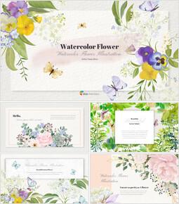 Illustrazione del fiore dell\'acquerello Easy PowerPoint Design_50 slides