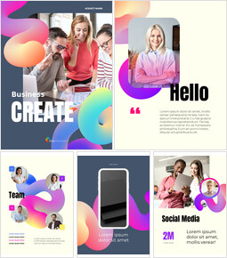 ビジネスクリエイティブバーティカル 会社プロファイルテンプレートのデザイン_23 slides