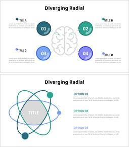 Diagramma di infografica radiale divergente_4 slides