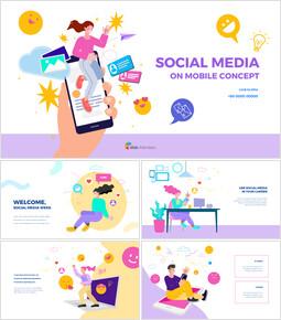 Social Media on Mobile Concept company profile template design_50 slides