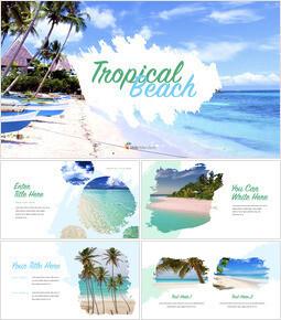 Tropical Beach beautiful keynote templates_35 slides
