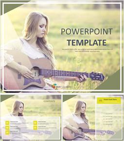 기타를 연주하는 소녀 - 무료 PowerPoint 템플릿 디자인_00