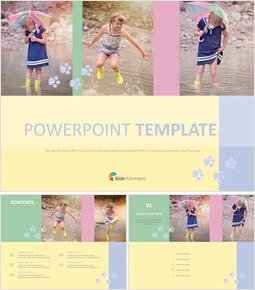 비오는날 소녀들 - 무료 PowerPoint 템플릿 디자인_00