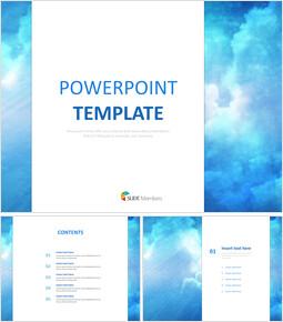 푸른 하늘 배경 - 무료 PowerPoint 템플릿 디자인_00