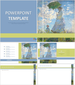 """Claude Monet """"woman With a Parasol"""" - Free Powerpoint Template_6 slides"""