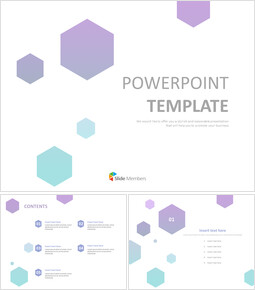 무료 PowerPoint 템플릿 디자인 - 녹색 보라색 그라데이션 육각형패턴_00