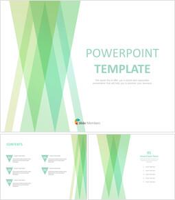 무료 PowerPoint 템플릿 디자인 - 겹친 녹색 삼각형_00