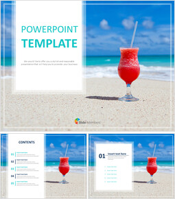 Free Powerpoint Templates Design - summer Beach and Cocktail_6 slides