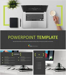 무료 PowerPoint 템플릿 디자인 - 노트북 작업 공간_00