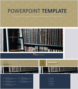 Free PPT Sample - Bookshelf in the Library_00