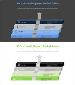 위쪽으로 접힌 화살표가있는 3D 계단 다이어그램_00
