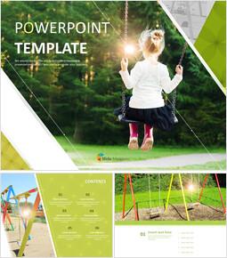 그네를 타는 아이 - 무료 PowerPoint 템플릿 디자인_00