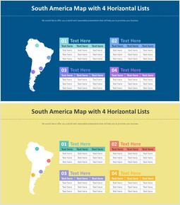 South America Map with 4 Horizontal Lists_00