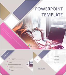 비즈니스 우먼 - 무료 PowerPoint 템플릿 디자인_00