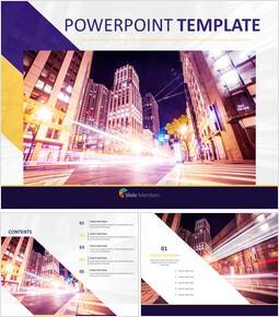 무료 PowerPoint 템플릿 - 도시의 불빛_00