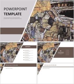 """무료 PowerPoint 템플릿 디자인 - 에곤 실레 """"하우스 벤드""""_00"""