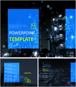 Free Powerpoint Templates Design - Factory Night Views_00