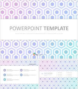 무료 PowerPoint 템플릿 디자인 - 밝은 자주색 및 민트 그라데이션 육각형_00