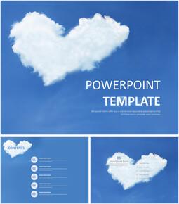 하늘 위에 하트 모양의 구름 - 무료 피피티 템플릿_00