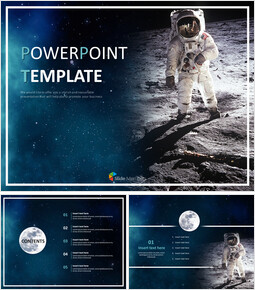 Moon and Astronauts - Free Powerpoint Templates Design_00