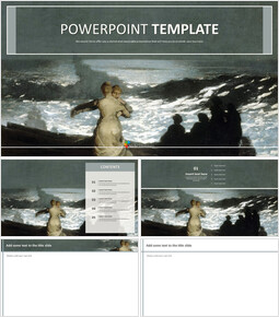 "Winslow Homer ""summer Night"" - Free Template Design_6 slides"