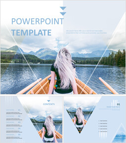 Free Powerpoint Sample - A woman and Boat on the River_6 slides