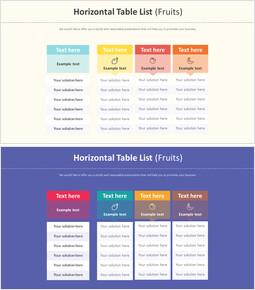 Horizontal Table List Diagram (Fruits)_2 slides