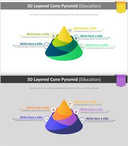 3D 계층화 된 콘 피라미드 다이어그램 (교육)_2 slides