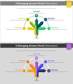 5 Diverging Arrows Pencil 다이어그램 (교육)_00