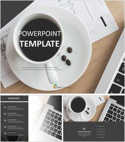 테이블에 커피 - 무료 PowerPoint 템플릿 디자인_00