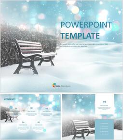 무료 PowerPoint 템플릿 - 눈 덮인 벤치_00