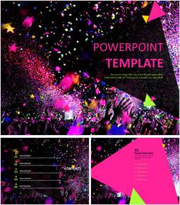 무료 PowerPoint 템플릿 디자인 - 멋진 축제_00