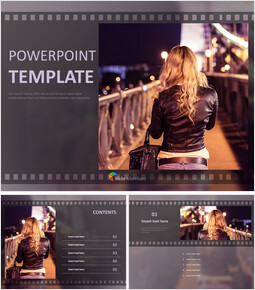 Free Presentation Templates - Bridge in Night View and a woman_6 slides