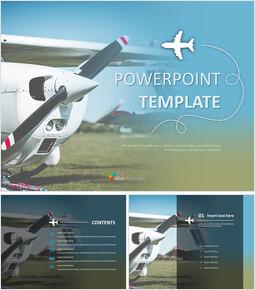 경 비행기 - 무료 PowerPoint 템플릿 디자인_00