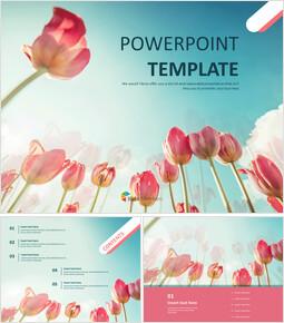 하늘과 튤립 - 무료 PowerPoint 템플릿 디자인_00