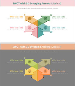 3D 화살표가있는 SWOT 다이어그램 (의료)_00