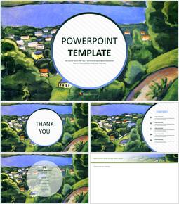 """8 월 Macke """"독서가있는 Teggernsee의 풍경"""" - 무료 Google 슬라이드 템플릿_00"""