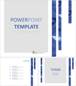 무료 프리젠테이션 템플릿 - 세 줄으로 파란색 삼각형 패턴_00