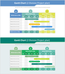 Gantt Chart Diagram (2 Division Project plan)_2 slides