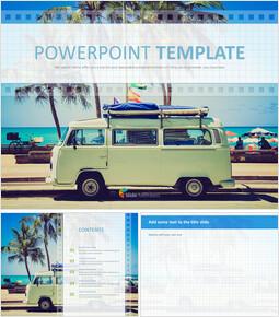 Google 슬라이드 템플릿 무료 다운로드 - 해변에서 캠핑 자동차_00