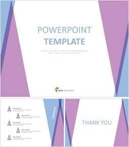 Google 슬라이드 템플릿 무료 다운로드 - 퍼플 블루 삼각형 패턴_00