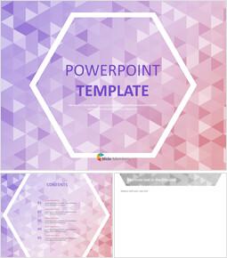 배경 및 6 각형 흰색 윤곽선에 보라색과 분홍색 삼각형 - 무료 Google 슬라이드 배경_00