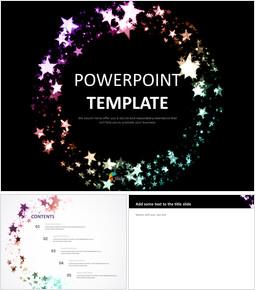 검은 배경 및 무지개 색 별 - Google 슬라이드 템플릿 무료 다운로드_00