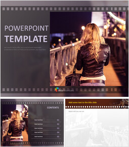 Bridge in Night View and a Woman - Google Slides Download Free_6 slides
